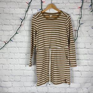 Merona Brown Striped Drawstring Sweatshirt Dress M